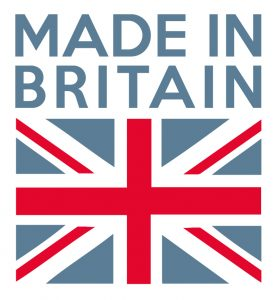 Made in Britain above British Flag